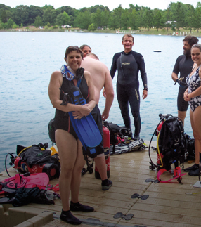 Kids standing on floating swim platform