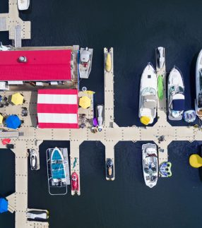 Aerial view of EZ Dock sections for a marina
