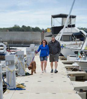 EZ Floating Walkway Doc with Dog