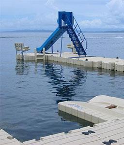 EZ Floating Dock with Slide at Hotel