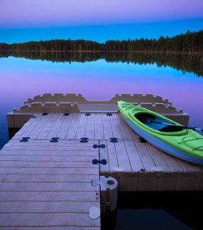 EZ Dock with Kayak at Sunset