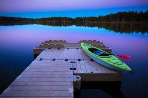 EZ Dock with Kayak at Sunset