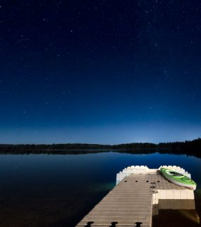 Dock on Lake at Night