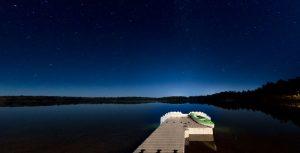 Dock on Lake at Night