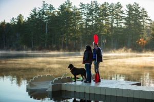 Floating Dock with Dog