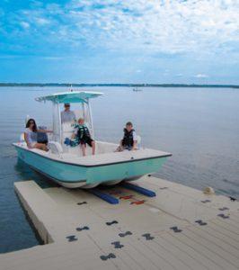 Boat on floating dock