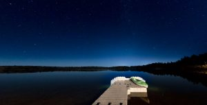 Floating dock at night