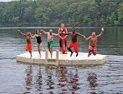 Kids jumping off dock