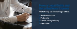 Form a legal entity and get a business license
