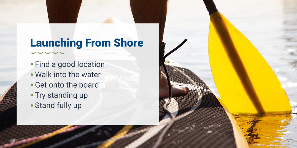 Tips for launching a paddle board from shore