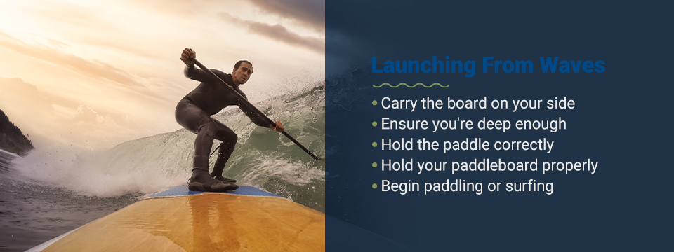 Tips for launching a paddleboard from waves
